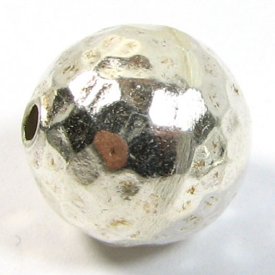 1 Large Hammered Karen Hill Tribe Silver Round Bead