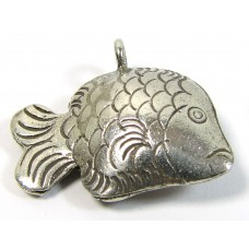 1 Karen Hill Tribe Silver Stamped Fish with Hanging Loop