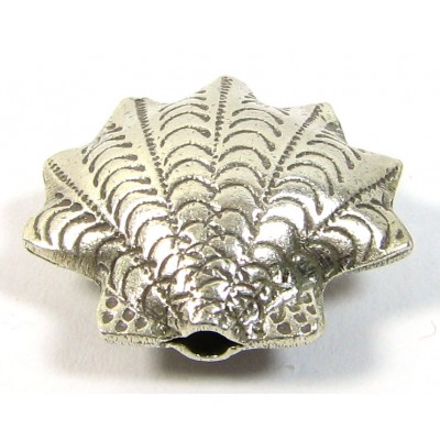1 Karen Hill Tribe Silver Fluted Scallop Shell Bead