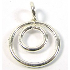 1 Karen Hill Tribe Silver Double Loops with a hanging loop Charm