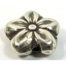 1 Karen Hill Tribe Silver Double Sided Flower Bead