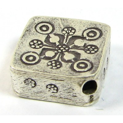 1 Karen Hill Tribe Silver Corner Hole Snowflake Stamped Square Bead