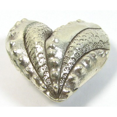 1 Karen Hill Tribe Silver Stamped & Hammered Large Heart Bead Side to Side