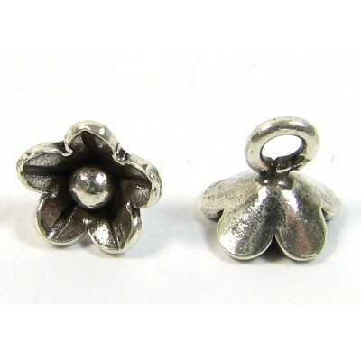 1 Karen Hill Tribe Silver Little Flower Charm with Hanging Loop