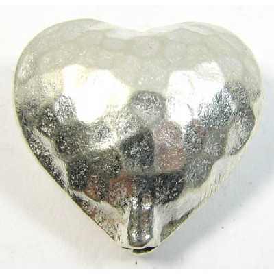 1 Karen Hill Tribe Silver Medium Hammered Heart Bead