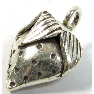 1 Karen Hill Tribe Silver Strawberry with Hanging Loop Charm