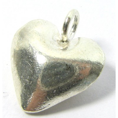 1 Karen Hill Tribe Silver Bright Puffed Heart with Loop Charm