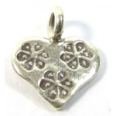 1 Karen Hill Tribe Silver Stamped Heart Charm