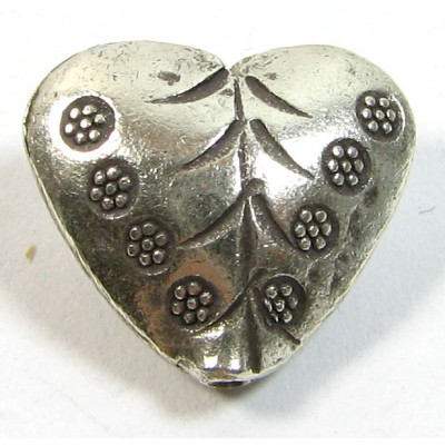 1 Karen Hill Tribe Silver Stamped Heart Bead