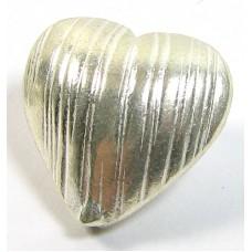 1 Karen Hill Tribe Silver Shiny Ridged Heart Bead
