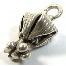 1 Karen Hill Tribe Silver Fuchsia Bud Mini Pendant Charm