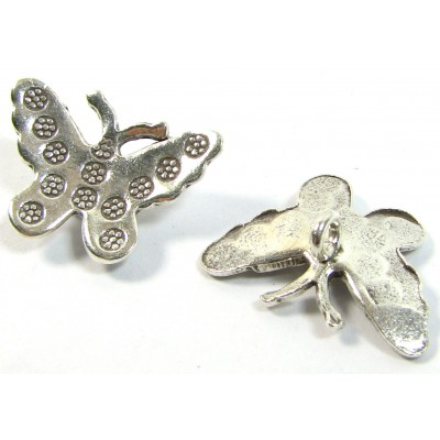 1 Karen Hill Tribe Silver Stamped Butterfly Mini Pendant Charm