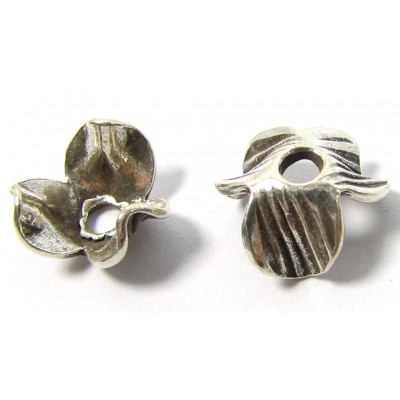 2 Karen Hill Tribe Silver Fluted Beadcaps