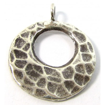 1 Karen Hill Tribe Silver Hammered Hoop with a Hole Mini Pendant