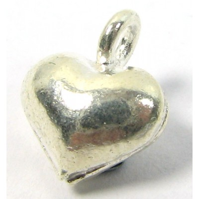 1 Karen Hill Tribe Silver Small Puffed Heart Charm