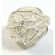 1 Karen Hill Tribe Silver Wire Wool Ball Bead
