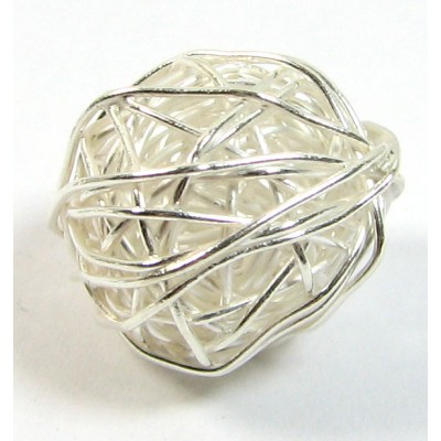 1 Karen Hill Tribe Silver Wire Wool Ball Large Bead