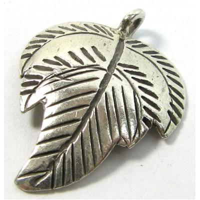 Karen Hill Tribe Silver Stamped Leaf Pendant