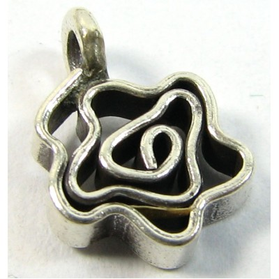 1 Karen Hill Tribe Silver Squiggle Flower Charm