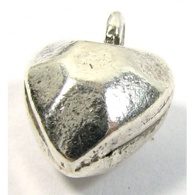 1 Karen Hill Tribe Silver Small Faceted/ Hammered Heart Charm