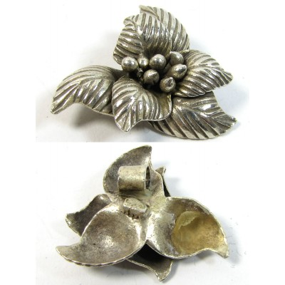 1 Karen Hill Tribe Silver Flower Pendant with Hanging Loop