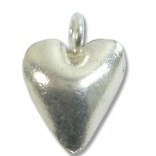 1 Karen Hill Tribe Silver Bright Puffed Heart Charm with Loop