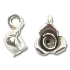 1 Karen Silver Small 3 Petal Rose Charm with Hanging Loop