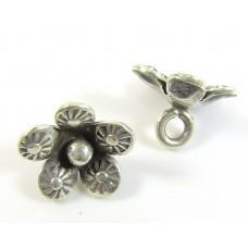 1 Karen Hill Tribe Silver Small Flower Charm - Dangle