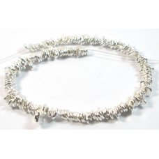 Strand of Karen Hill Tribe Silver Liquid Silver Drop Nugget Chip Beads (50mm)