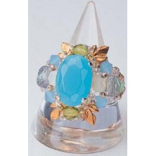 Toho Beaded Elegant Jewellery Kit - Ring - Glass Stone and Leaf