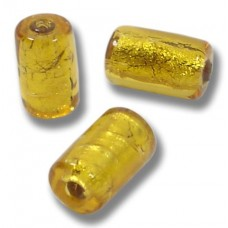 1 Murano Glass Topaz Goldfoil cylinder Bead