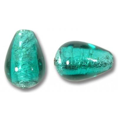 1 Murano Glass Verde Marino Silverfoil Drop