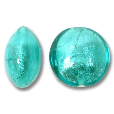 1 Murano Glass Verde Marino Silverfoil Lentil