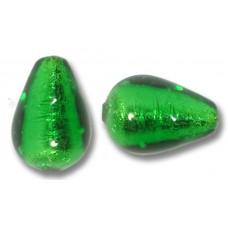 1 Murano Glass Emerald Silverfoil Drop