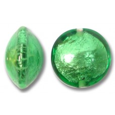 1 Murano Glass Emerald Silverfoil 14mm Lentil