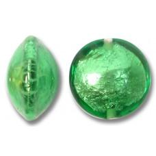 1 Murano Glass Emerald Silverfoil Lentil