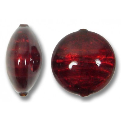 1 Murano Glass Darkest Ruby Silverfoil 14mm Lentil