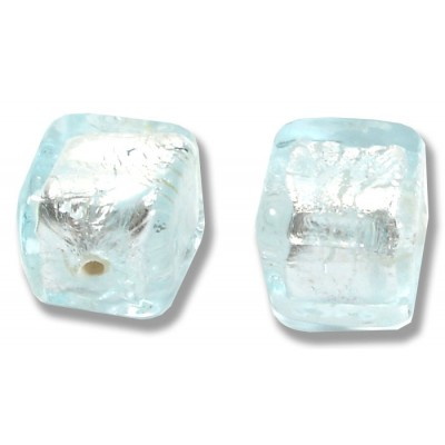 Pair Murano Glass Aquamarine Silver Foiled 8mm Cube Beads