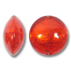 1 Murano Glass Arancio Goldfoil 14mm Lentil