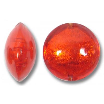 1 Murano Glass Arancio Goldfoil Lentil