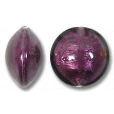 1 Murano Glass Amethyst Silverfoil 14mm Lentil