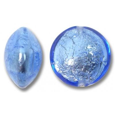 1 Murano Glass Sapphire 14mm Silverfoil Lentil