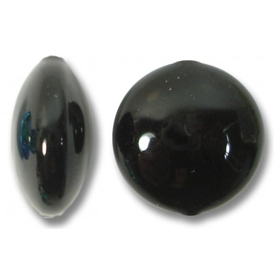 1 Murano Glass Black 10mm Lentil Bead