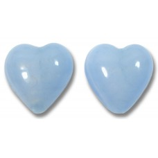 Pair Murano Glass Hearts White Gold Foiled Periwinkle Blue Satin