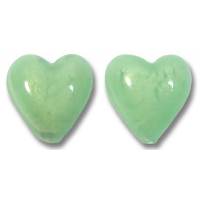 Pair Murano Glass Hearts White Gold Foiled Soft Green Satin