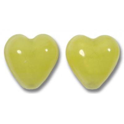 Pair Murano Glass Hearts White Gold Foiled Lemon Satin