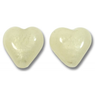 Pair Murano Glass Hearts White Gold Foiled Ivory Satin