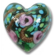 1 Murano Glass Emerald Rose Green Gold Aventurine Heart