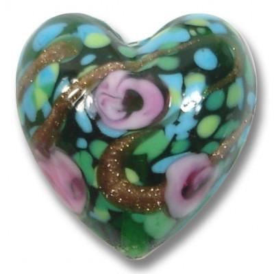 1 Murano Glass Emerald Rose Green Gold Aventurine Heart