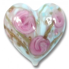 1 Murano Glass Clear Rose Soft Blue Gold Aventurine Heart